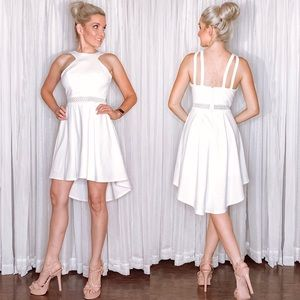 White High Low Bridal Party Dress